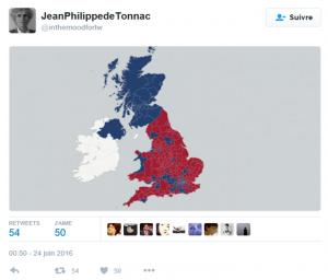 Capture d'écran Twitter de Jean-Philippe de Tonnac : en rouge les lieux où le « Leave » est majoritaire, en bleu ceux où le « Remain » est majoritaire.