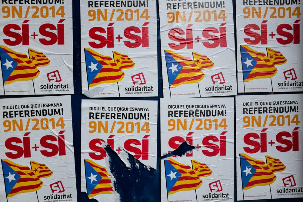 Affiches de campagne pour le Oui au référendum catalan d'indépendance de 2014