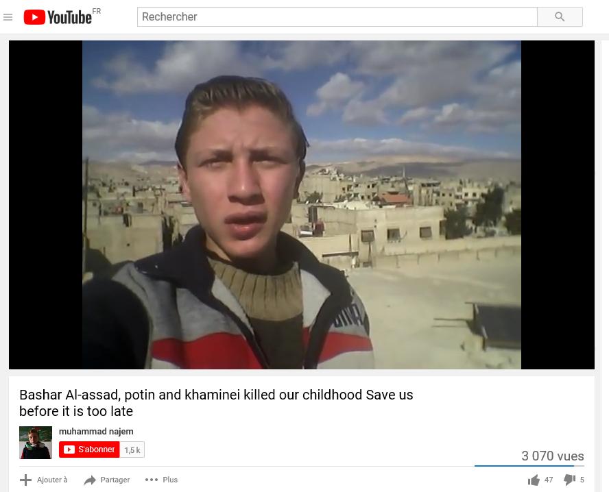 Sur fond de bombardements, Muhammad Najem s'adresse à la communauté internationale: «Nous mourrons à cause de votre silence» (Capture d'écran, Youtube – Muhammad Najem)